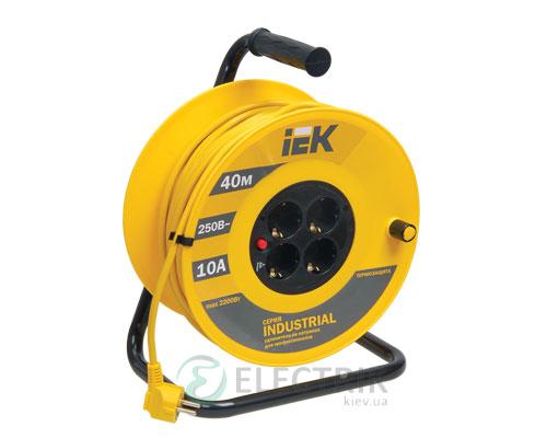 Катушка переносная УК40 с термозащитой 4 места 2P+PE/40м 3×1,0 мм² серия INDUSTRIAL, IEK