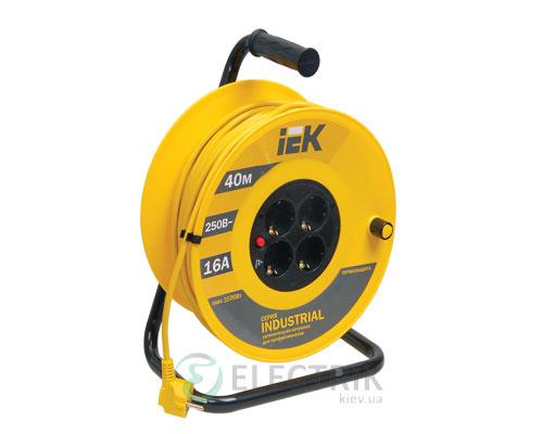 Катушка переносная УК40 с термозащитой 4 места 2P+PE/40м 3×1,5 мм² серия INDUSTRIAL, IEK
