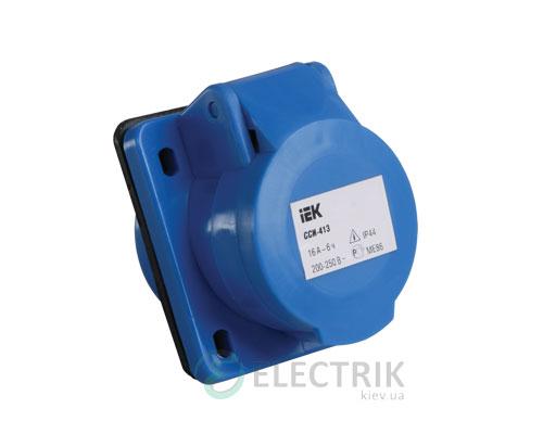 Розетка ССИ-413 стационарная для скрытой проводки 2P+PE 16А 220В IP44, IEK
