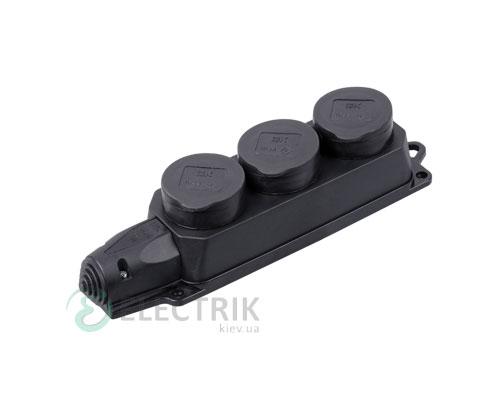 Розетка каучуковая трехместная с защитными крышками ОМЕГА IP44 РБ33-1-0м, IEK