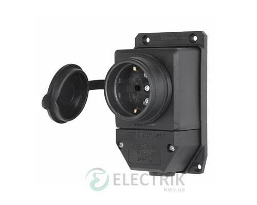 Розетка одинарная с защитной крышкой каучуковая e.socket.rubber.029.1.16 2P+PE (Schuko) 16А 250В IP44, E.NEXT (Mutlusan)