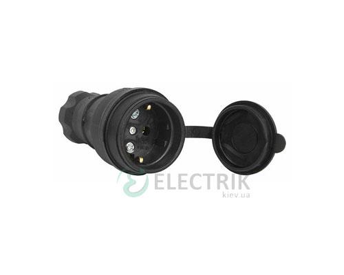Розетка переносная с защитной крышкой каучуковая e.socket.rubber.029.16 2P+PE (Schuko) 16А 250В IP44, E.NEXT (Mutlusan)
