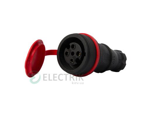 Розетка переносная с защитной крышкой каучуковая e.socket.rubber.061.16 3P+PE 16А 400В IP44, E.NEXT (Mutlusan)