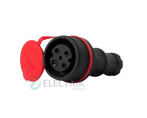 Розетка переносная с защитной крышкой каучуковая e.socket.rubber.071.32 3P+PE 32А 400В IP44, E.NEXT (Mutlusan)