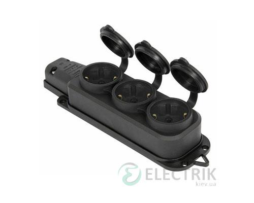 Розетка трехместная с защитной крышкой каучуковая e.socket.rubber.029.3.16 2P+PE (Schuko) 16А 250В IP44, E.NEXT (Mutlusan)