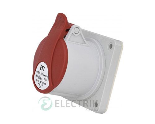 Розетка встраиваемая EER-1643 IP54 STRAIGHT (16A, 400V, 3P+PE), ETI (Словения)