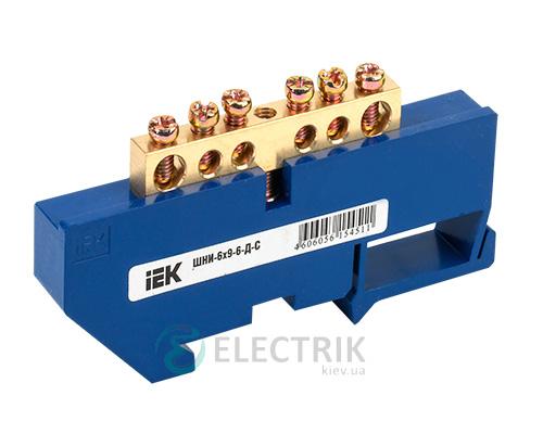 Шина нулевая с DIN-изолятором ШНИ-6x9-6-Д-С, IEK
