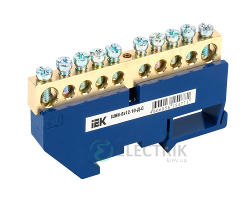 Шина нулевая с DIN-изолятором ШНИ-8x12-10-Д-С, IEK