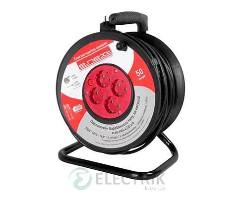 Удлинитель барабанного типа на 4 гнезда 50 м (3×1,5 мм²) с заземлением, защитой от перегрузки и защитными шторками e.es.roll.4.50.z.b, E.NEXT