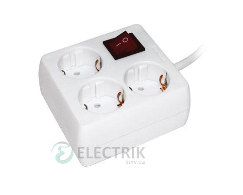 Удлинитель с выключателем У-С03К 3 места 2P+PE/5 метров 3x1мм² 16А/250В, IEK