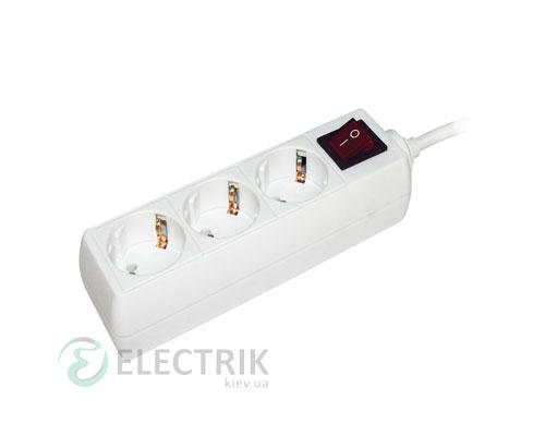 Удлинитель с выключателем У03К 3 места 2P+PE/3 метра 3x1мм² 16А/250В, IEK