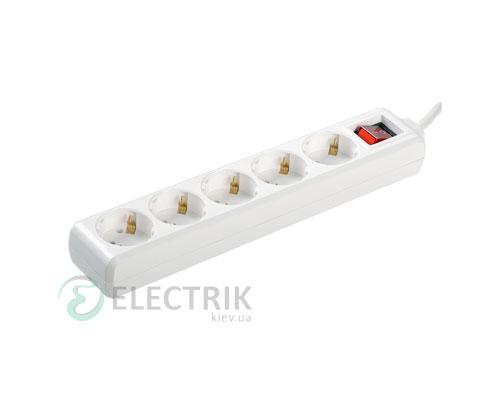 Удлинитель с выключателем У05К 5 мест 2P+PE/5 метров 3x1мм² 16А/250В, IEK