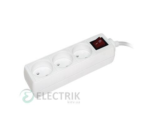 Удлинитель с выключателем У3К 3 места 2P/3 метра 2x0,75мм² 10А/250В, IEK