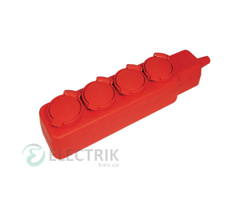 Удлинитель с защитными крышками У04В 4 места 2P+PE/5 метров 3x1мм² 16А/250В, IEK