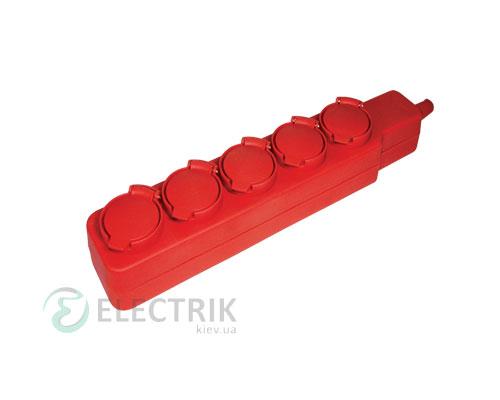 Удлинитель с защитными крышками У05В 5 мест 2P+PE/5 метров 3x1мм² 16А/250В, IEK