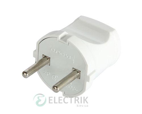 Вилка бытовая без заземления 10А белая e.plug.001.10, E.NEXT