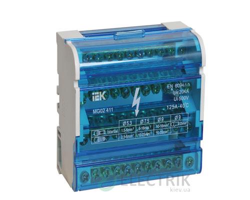 Шина «N» нулевая на DIN-рейку в корпусе 4x11 групп, IEK